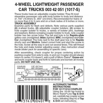 'N' Silver  4 Wheel Passenger car trucks