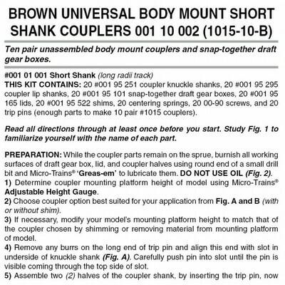 'N' Bulk Pack unassembled RDA body mount (1015) short shank couplers-Brown