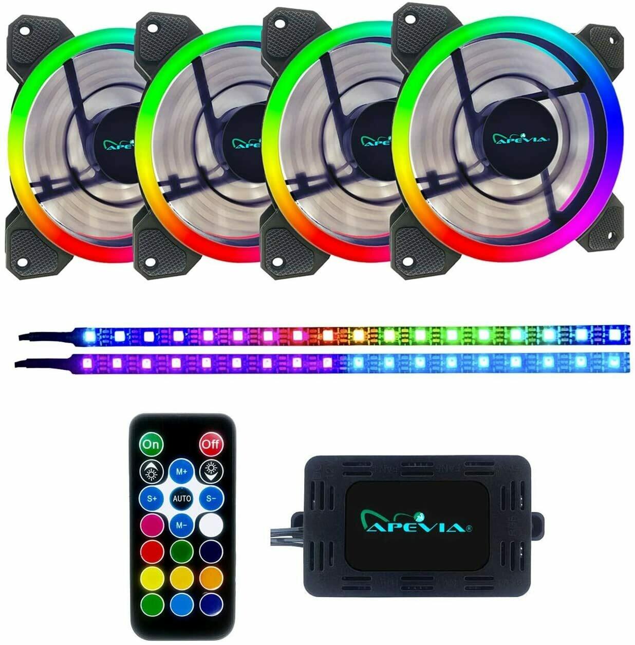 Apevia ST4P2-RGB Spectra 4-pack 120mm ARGB Case Fan + 2x ARGB LED Strip Cooling/Lighting Kit