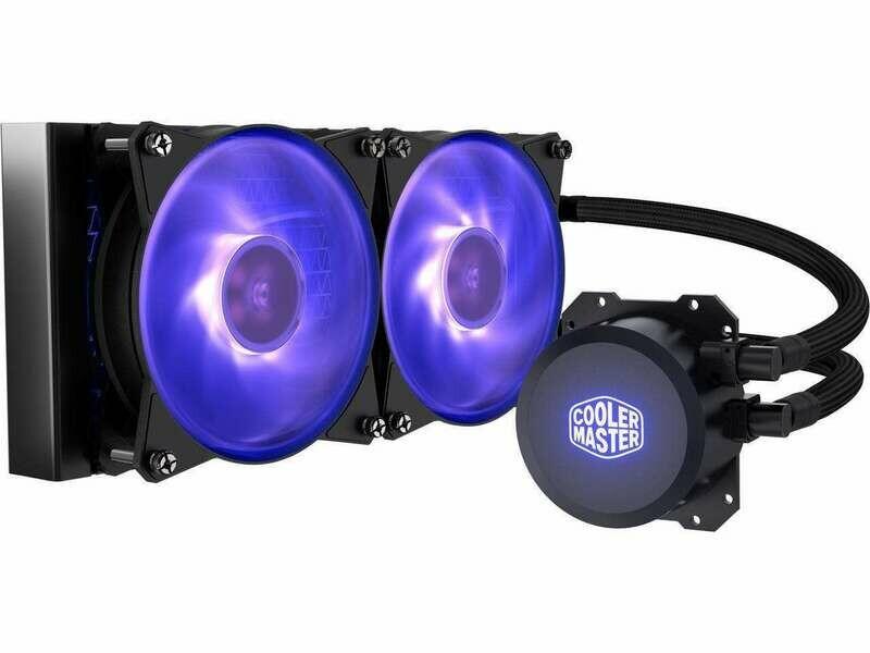 Cooler Master MasterLiquid ML240L RGB Close-Loop CPU Liquid Cooler, 240mm Radiator, Dual Chamber RGB Pump, Dual MF120R RGB Fans, RGB Lighting for AMD Ryzen/Intel LGA1200/1151