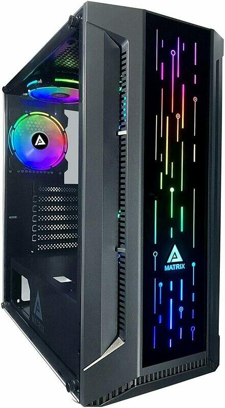 Apevia Matrix-BK Mid Tower gaming case w/tempered glass panel, top USB3.0/USB2.0/audio ports, 4x 120mm RGB fans, RGB front panel (black)