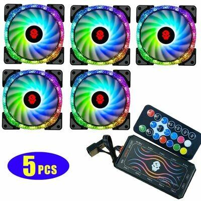 "5-Pack 120mm ""Crystal"" ARGB Fan Kit - Includes control hub & wireless remote"