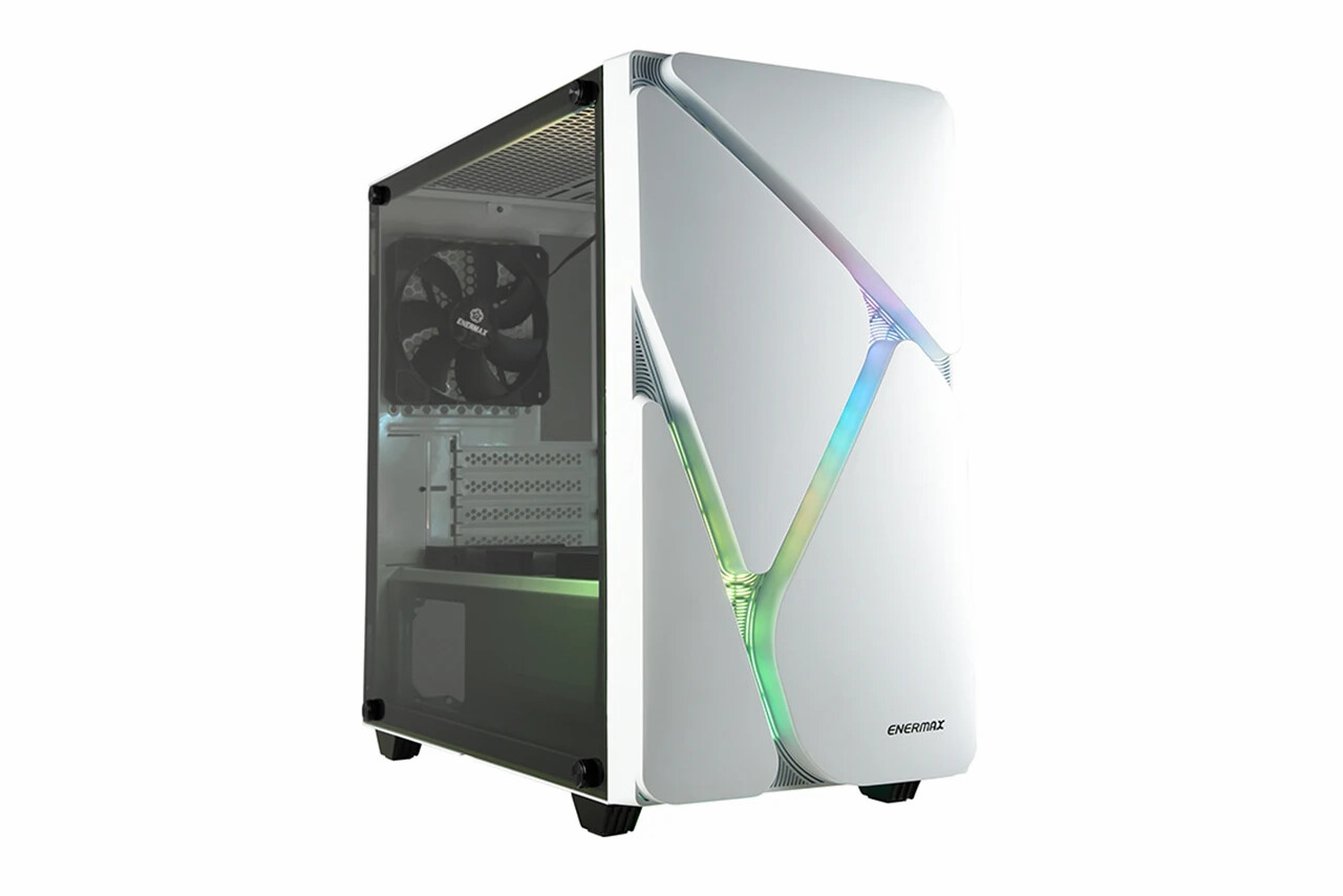 Enermax MarbleShell MS20 - Compact Micro-ATX Mini Tower PC Gaming Case w/tempered glass & ARGB Fans (3 Pre-Installed Fans) - White