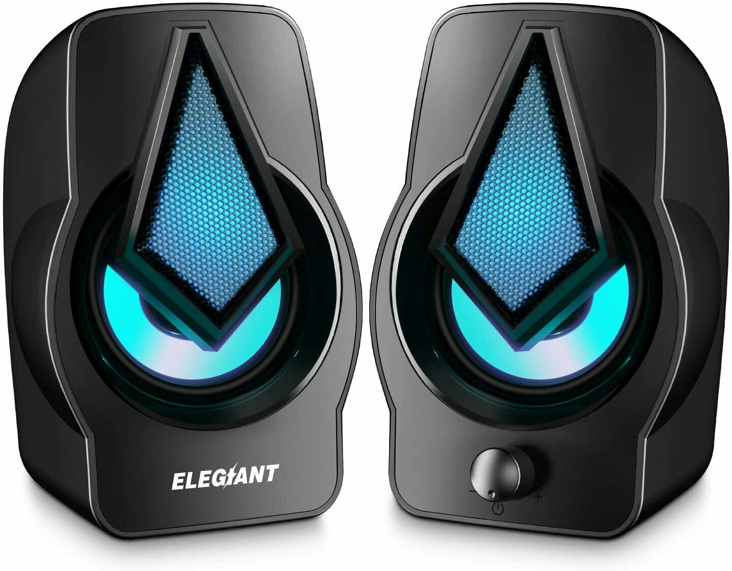 ELEGIANT USB Speakers - RGB Speakers with multi-light modes - USB powered stereo speakers for PC and laptops