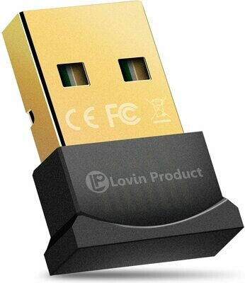 Lovin Product Bluetooth 5.0 USB Adapter - USB Bluetooth 5.0 Wireless EDR Micro Adapter - For Windows 10,8.1/8,7,Vista,XP,32/64Bit for Desktop, Laptop
