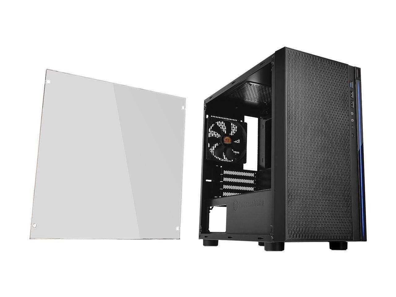 Thermaltake Versa H18 Tempered Glass Black SPCC Micro ATX Gaming Computer Case