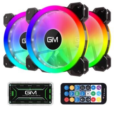 GIM KB-23 RGB Case Fans - 3 Pack 120mm Quiet Computer Cooling PC Fans, 5V ARGB Addressable Motherboard SYNC or Wireless Controller,Speed Adjustable with Fan Control Hub