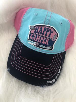 Teal/pink Happy Camper Hat
