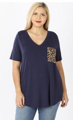 Leopard Pocket Tee Black /2x