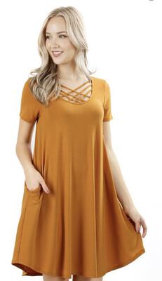 Mustard Strappy Short Dress Medium