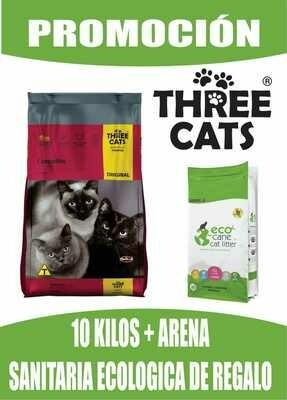 Three Cats Gatos Castrados 10 kg + Arena Ecologica