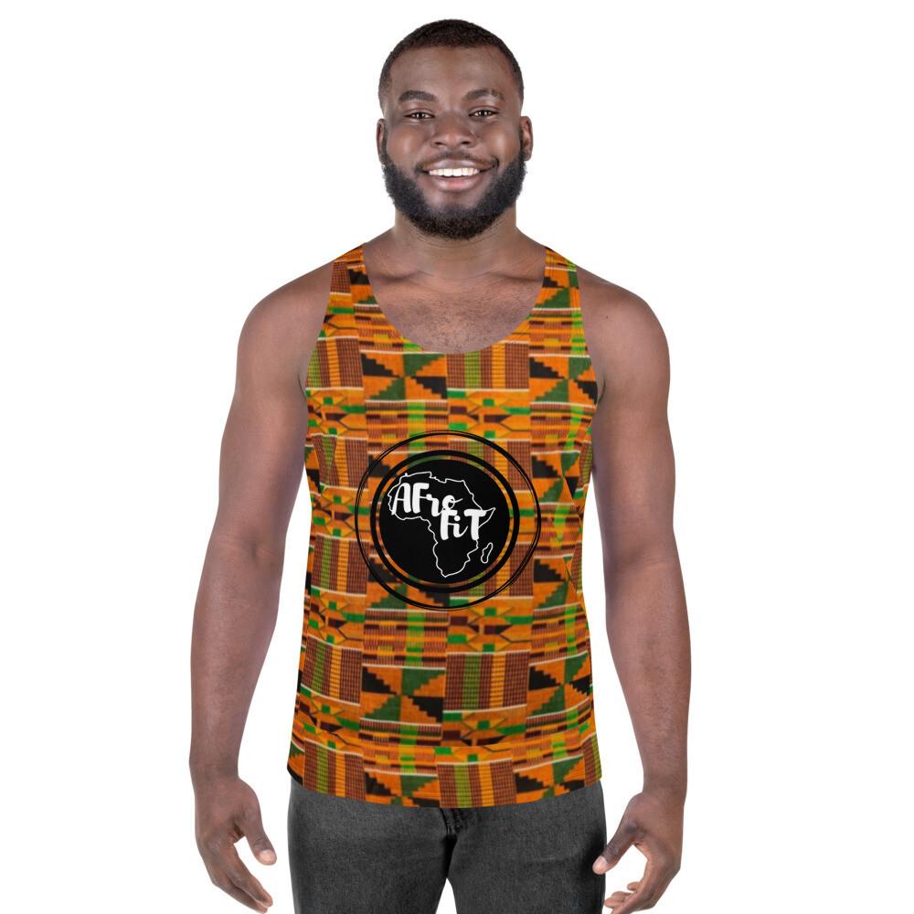 Kwame Men's Gym Tank Top : African Print Kente T-Shirt