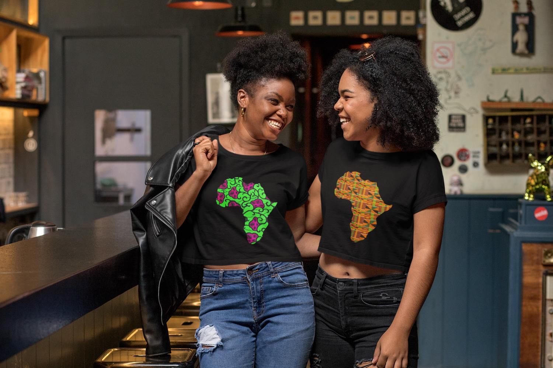Kente Africa Women's Crop Tee : African Kente Print T Shirt