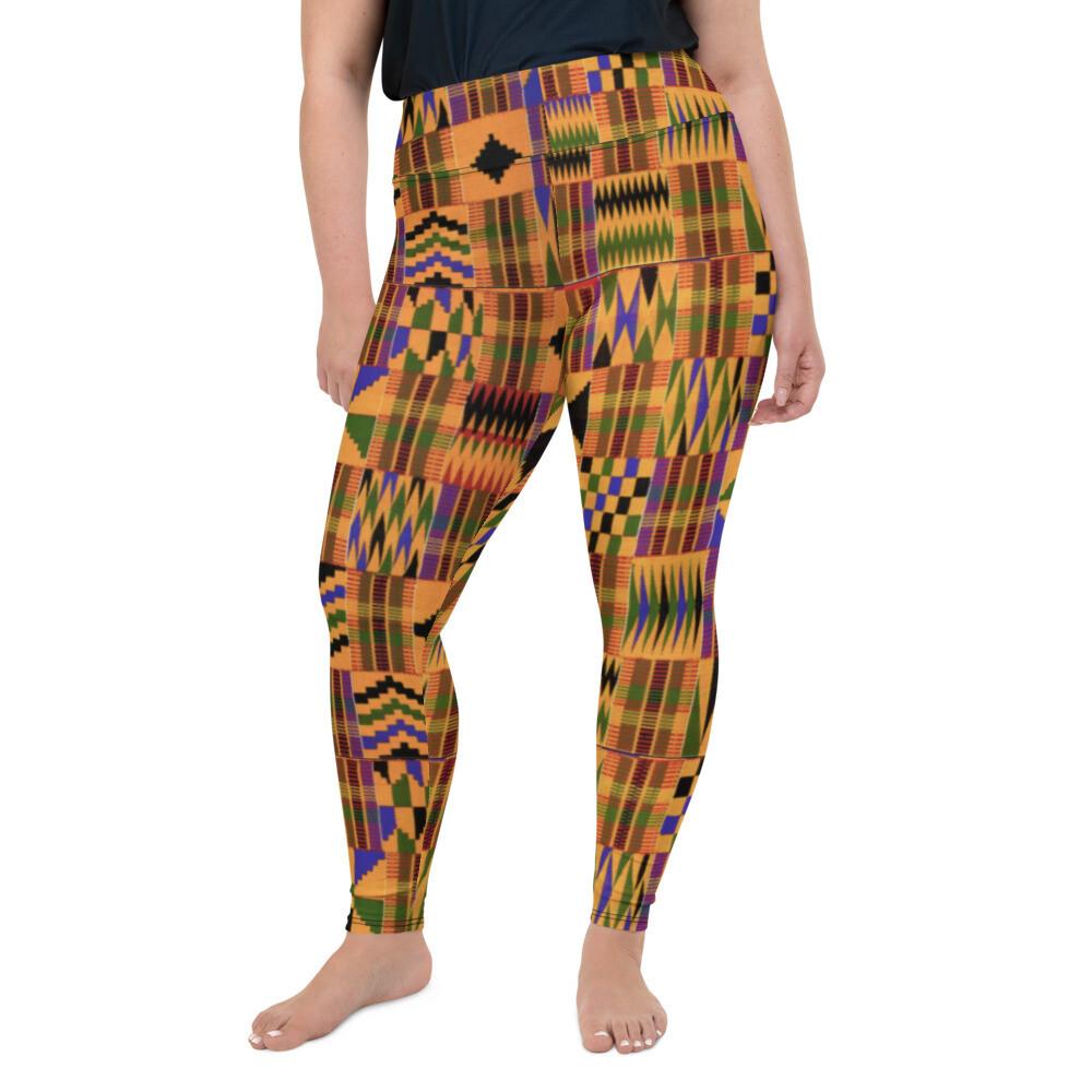 Morowa Kente Plus Size Leggings 2XL-6XL : African Print Leggings : High Waist