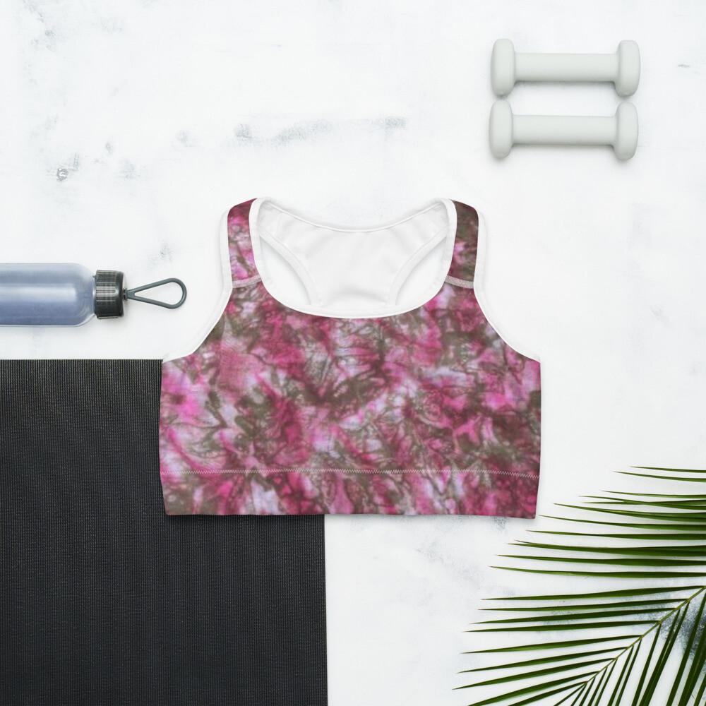 Pink Tie Dye Sports Bra