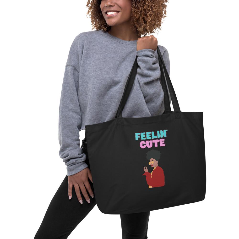 """Large """"cute"""" Organic Tote Bag"""
