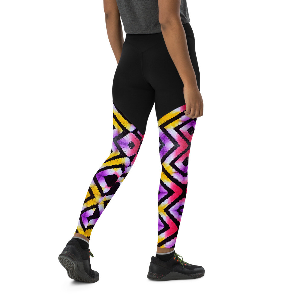African Tie Dye Compression Sports Leggings | LUX Collection | African Print Leggings