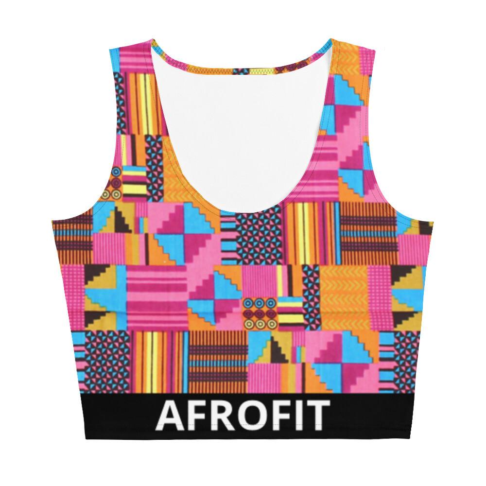 AFROFIT Serwa Gym Crop Top   Kente Top