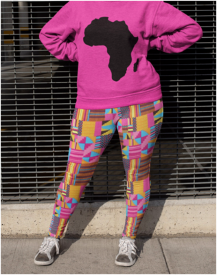 Serwa Kente Plus Size Leggings 2XL-6XL | African Print Leggings | High Waist Leggings