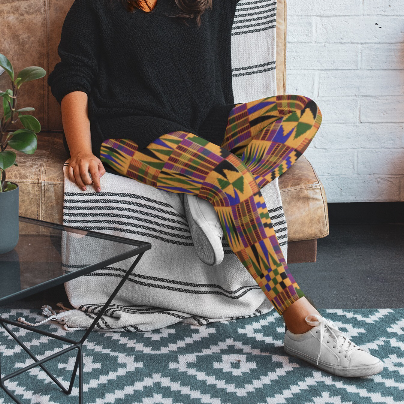 Morowa Kente Plus Size Leggings 2XL-6XL   African Print Leggings   High Waist
