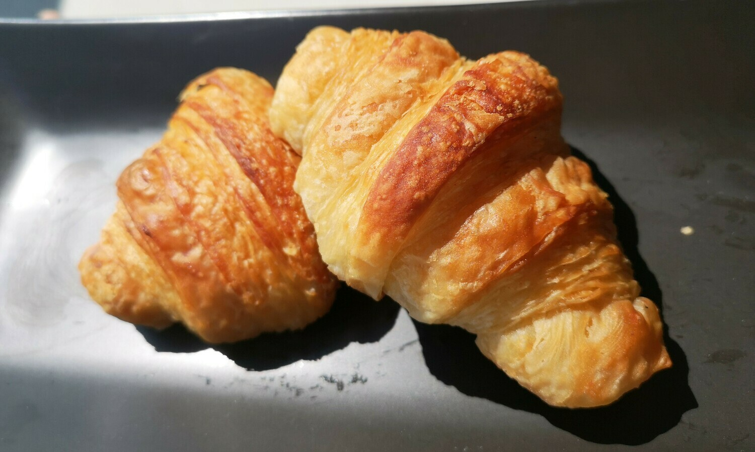 Vegan French Croissant. Plain and with chocolate filling.