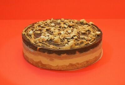 Vegan Snickers ice-cream cake. GLUTEN FREE AVAILABLE.