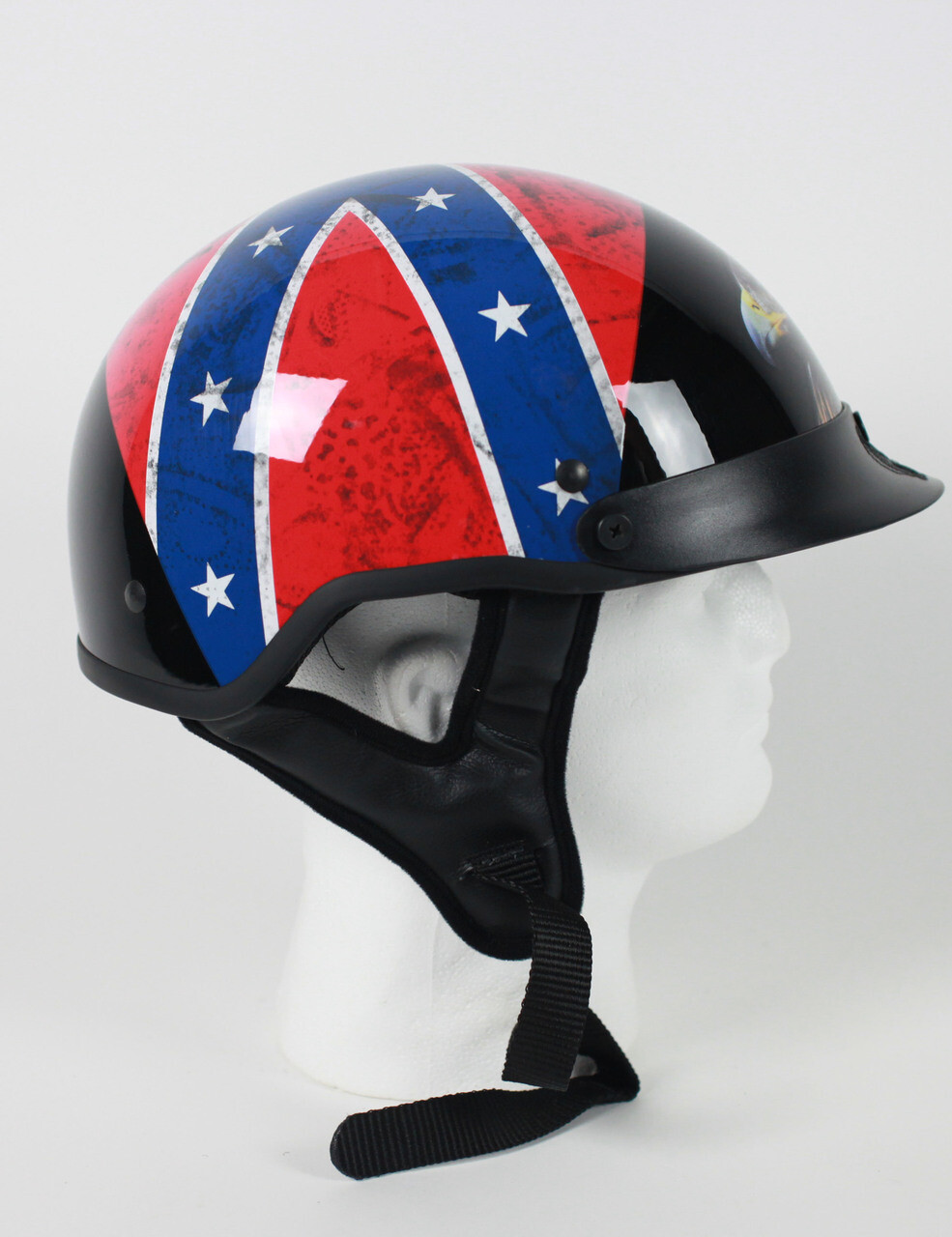 DOT Rebel Flag and Eagle Motorcycle Shorty Motorcycle Helmet