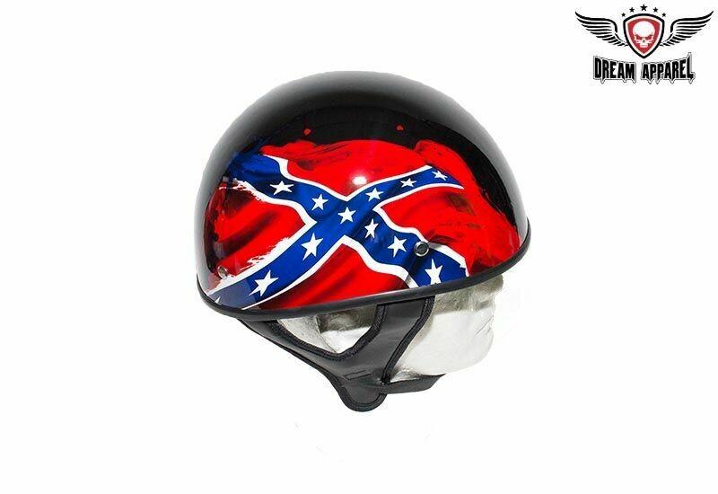 DOT Rebel Flag Motorcycle Helmet - Shiny Finish