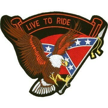 Eagle with Rebel Flag and Live To Ride Banner Patch