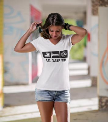 Eat Sleep VW V Neck Tshirt