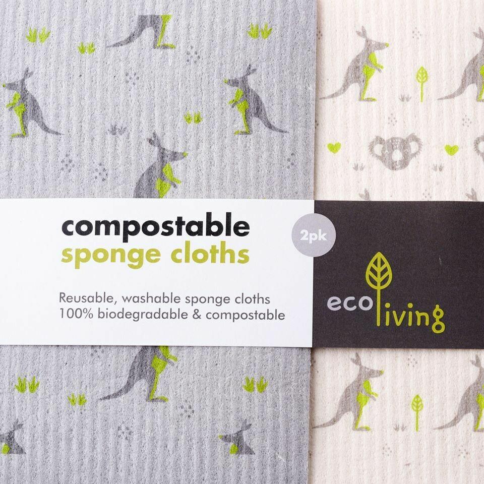 Set 2 Lavete de Bucatarie Biodegradabile - Koala & Kangaroo