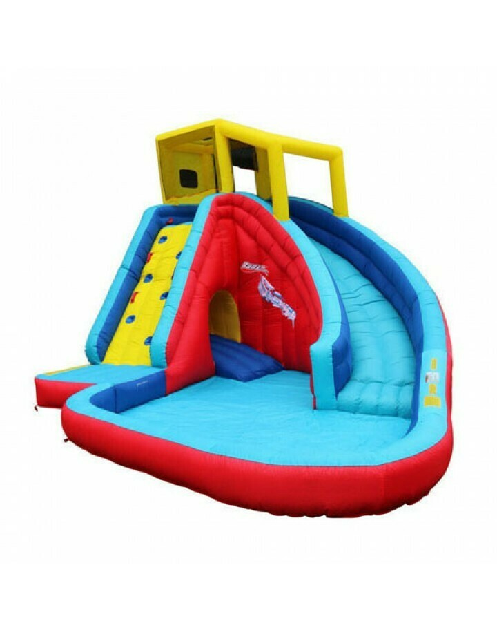 Banzai Sidewinder Falls 15 Foot Inflatable Waterpark Water Slide Spring Summer Air Backyard Pool Spray Splash Bounce Toy