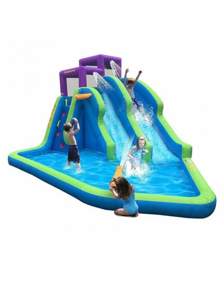 Magic Time Twin Falls Outdoor Inflatable Splash Pool Backyard Water Slide Park