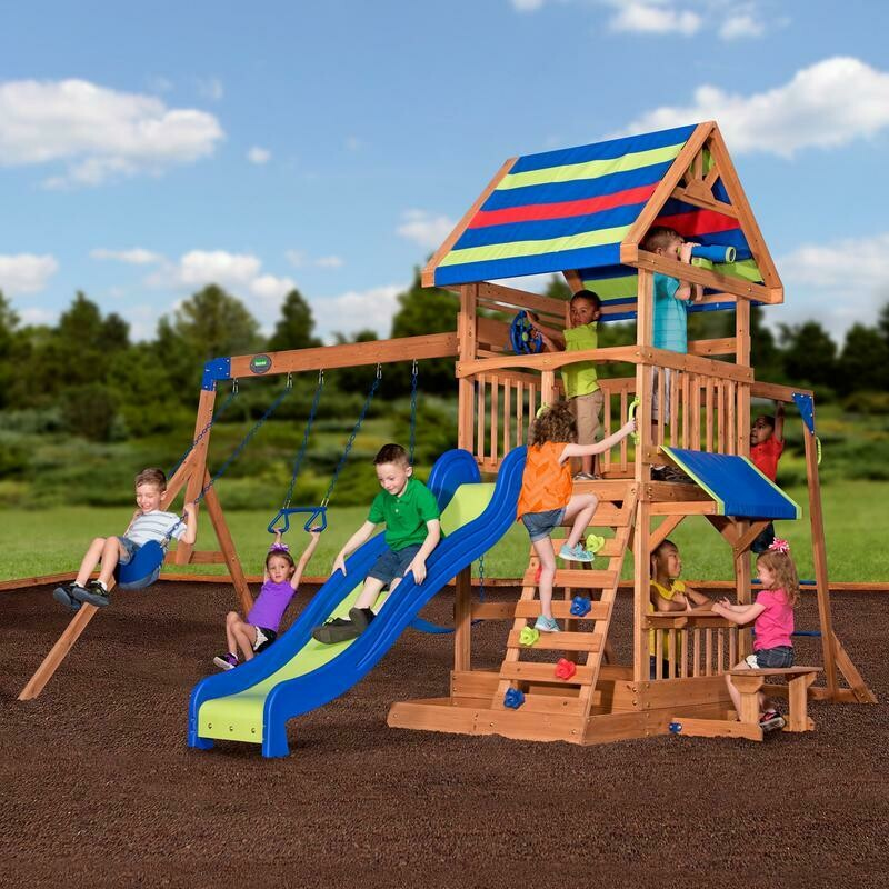 Beach Front Wooden Swing Set