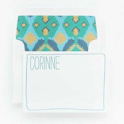 Turquoise & Gold Ikat