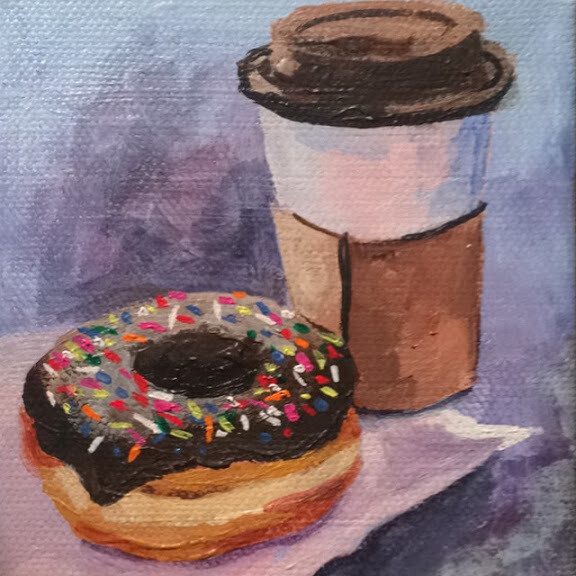 "Emily's Donuts, acrylic on canvas, 4""x4"""
