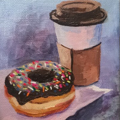 """Emily's Donuts, acrylic on canvas, 4""""x4"""""""