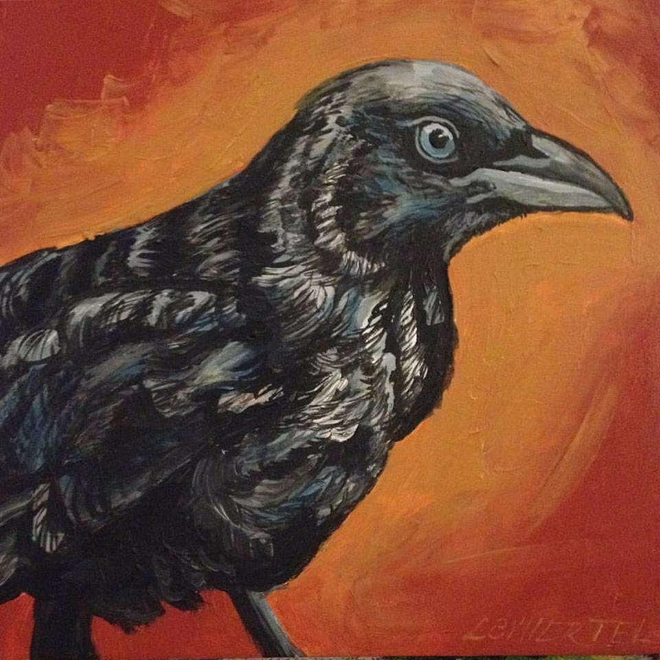 """Young Crow, acrylic on wood, 6""""x6"""""""