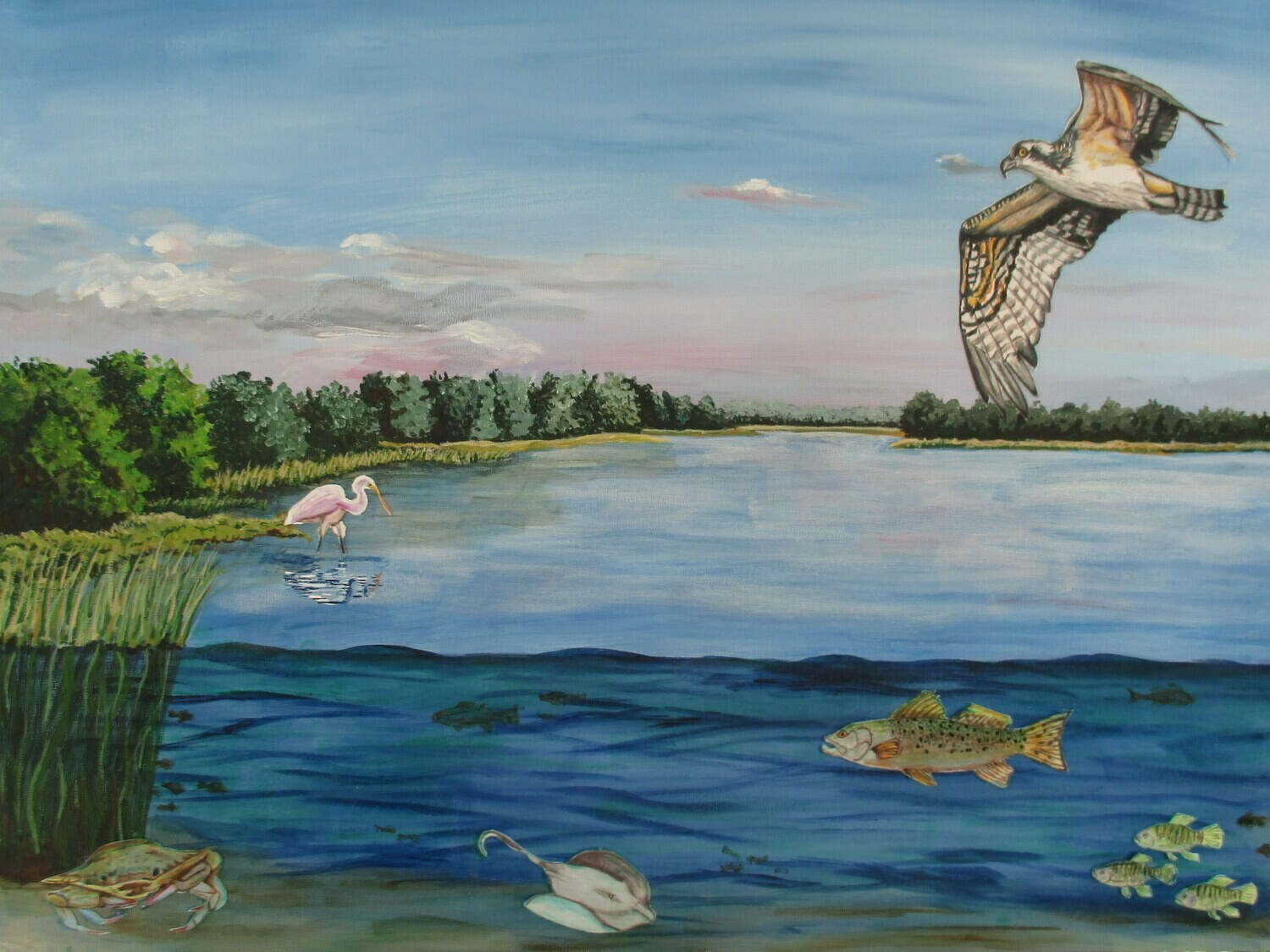 """""""The Living River"""", mixed media on gessobord, 16""""x24"""""""