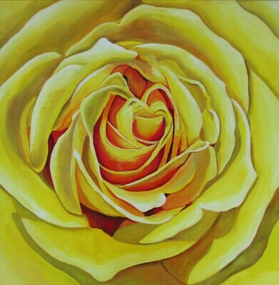 """Large Yellow Study"", acrylic, 30""x30"""