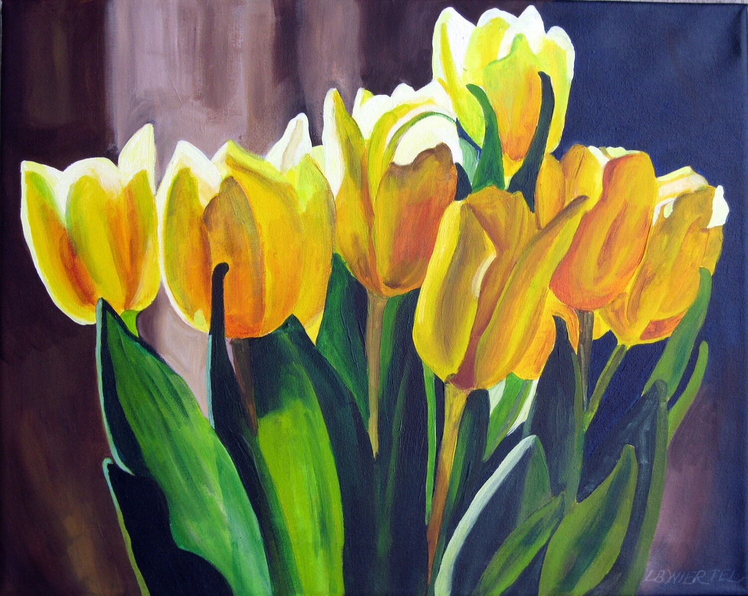 """""""A Touch of Spring"""", acrylic on canvas, 16""""x20"""", framed."""