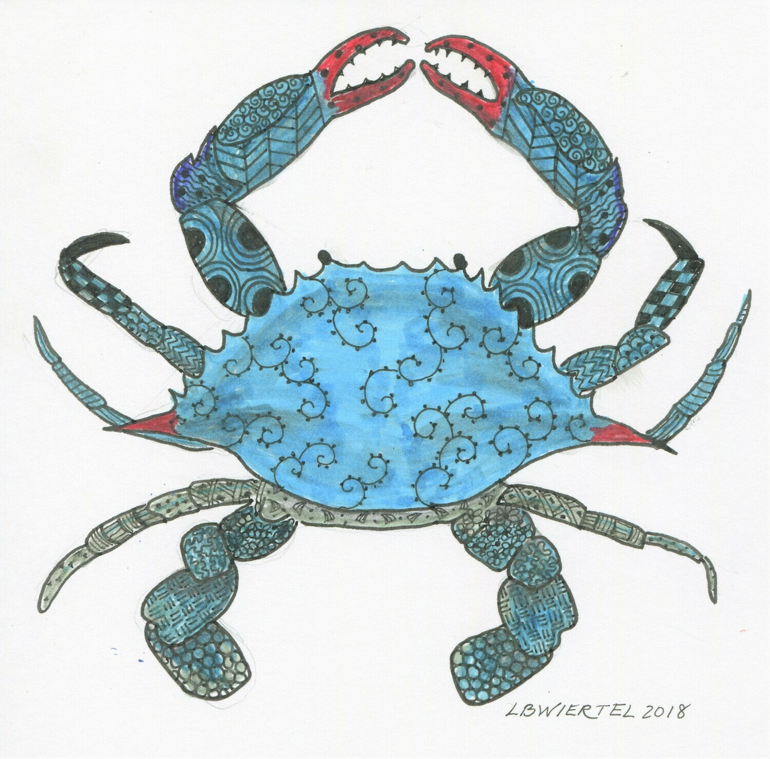 """Zentangle Crab"" Drawing"