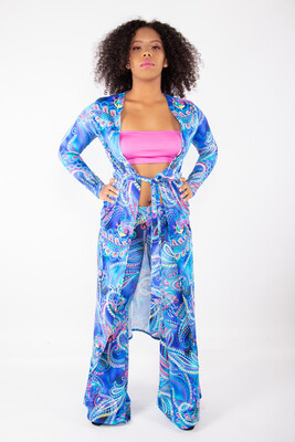 Blue paisly printed duster