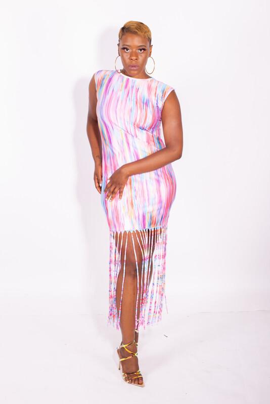 Multi color fringe dress