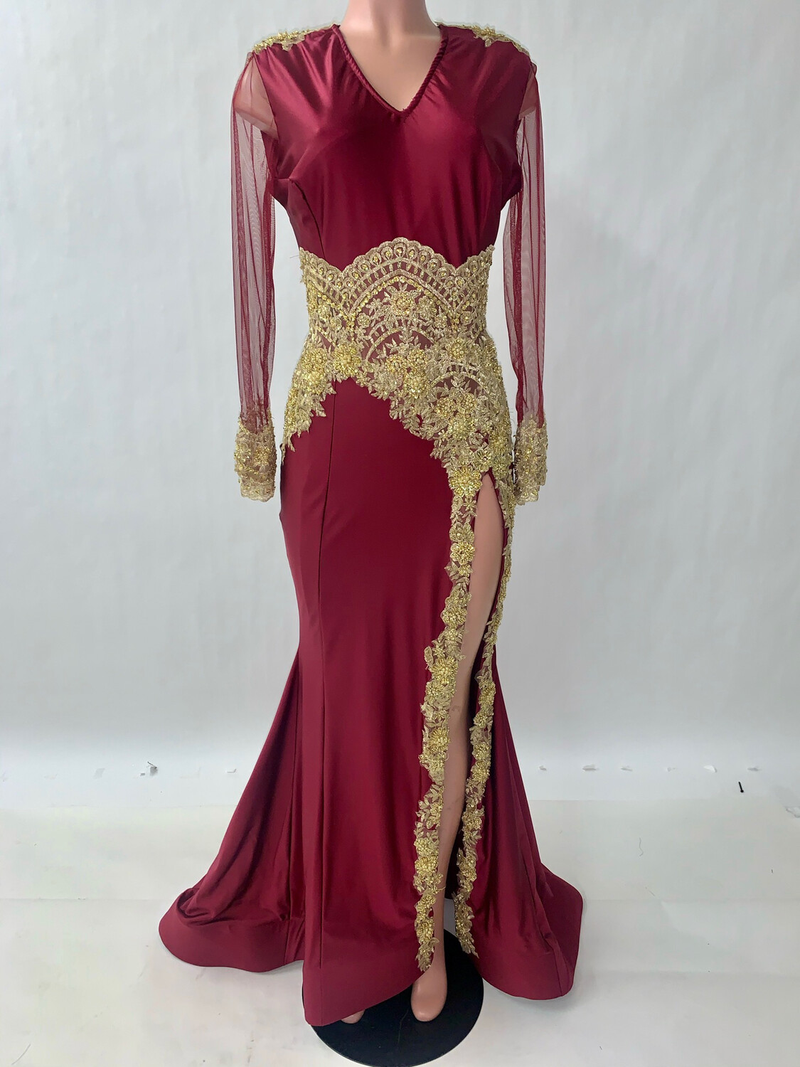Burgundy And Gold Lace Sheath Gown