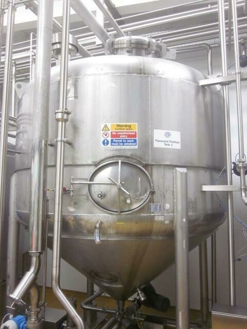 APV 7,500 Litre Stainless Steel Mixing Tank with Low Speed Agitator