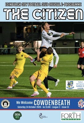 Cowdenbeath | League 2 | Sat 24 Oct 2020