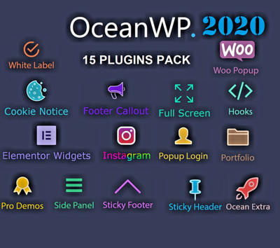 Neu Neu  OceanWP Pack 15 Premium Plugins ~ WordPress Plugins ~ Updated Version 2020