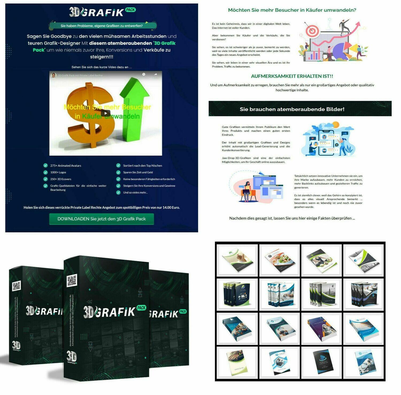 3D Grafik Pack - Profi Designs, Hochwertig - TOP Verkaufsseite + PLR - Ganz NEU