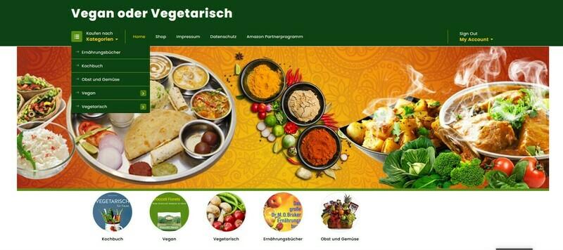 Wordpress Amazon Affiliate Webshop für Vegane und Vegetarische Kost